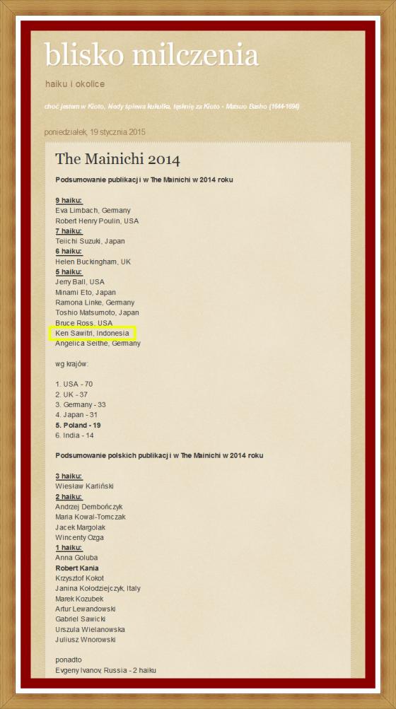 Haiku in English in The Mainichi 2014 - 5 haiku - Ken Sawitri (Indonesia)