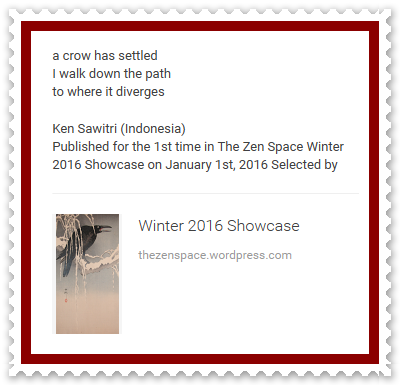 Ken Sawitri_The Zen Space_Winter 2016_a crow has settled