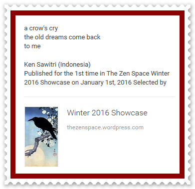 Ken Sawitri_The Zen Space_Winter 2016_a crow's cry