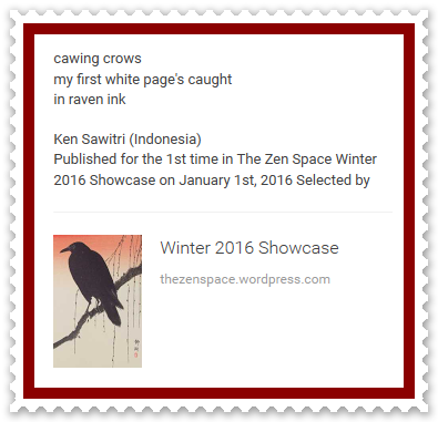 Ken Sawitri_The Zen Space_Winter 2016_cawing crow