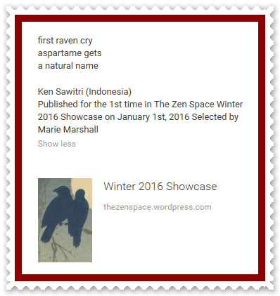 Ken Sawitri_The Zen Space_Winter 2016_first raven cry