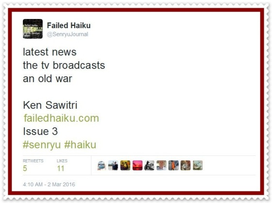 @SenryuJournal_Failed Haiku 1.3_Ken Sawitri_latest news 5 retweets 11 likes